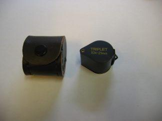 Loupe 10x triplet rond zwart